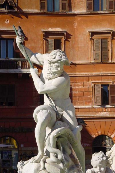 Neptune on the Fontana di Nettuno on Piazza Navona | Fountains in Rome | Italy