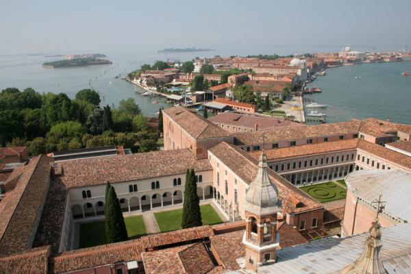 Looking down on the cloisters and Giudecca from the bellfry of San Giorgio | San Giorgio Maggiore | Italy