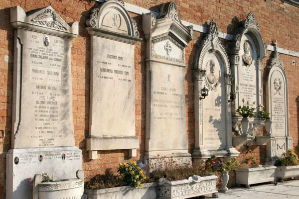 Commemorative marble tombstones for the deceased | San Michele Cemetery | Italy