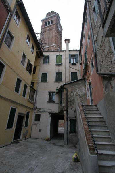 Stairs, small courtyard and bell tower of Santa Maria Gloriosa dei Frari | San Polo | Italy