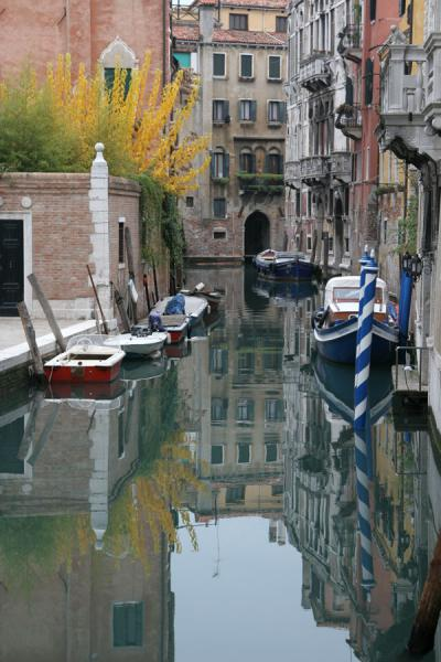 Picture of San Polo (Italy): Autumn colours, boats and reflection in Venetian canal
