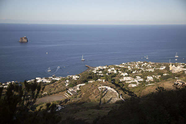 Foto de View of Stromboli village with Strombolicchio on the leftStromboli - Italia