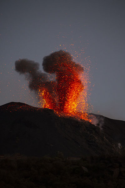 Picture of Explosion over Stromboli at duskStromboli - Italy