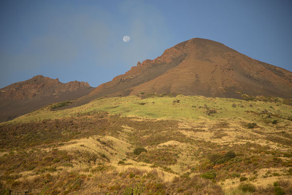 Early morning view of Stromboli with the moon | Stromboli | Italy