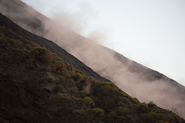 Cloud of dust left behind on the Sciara del Fuoco after rocks come tumbling down | Stromboli | Italia