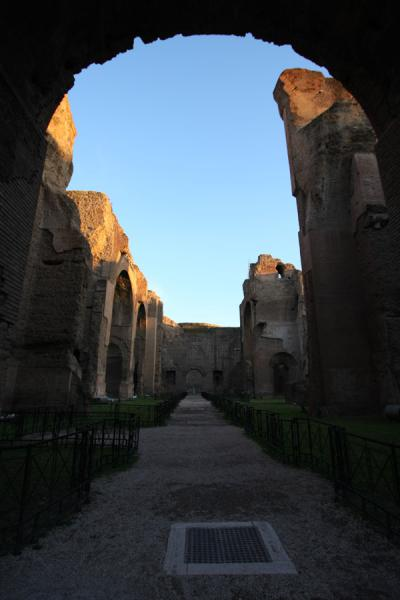 Looking through the main aisle of the Baths of Caracalla | Baths of Caracalla | Italy