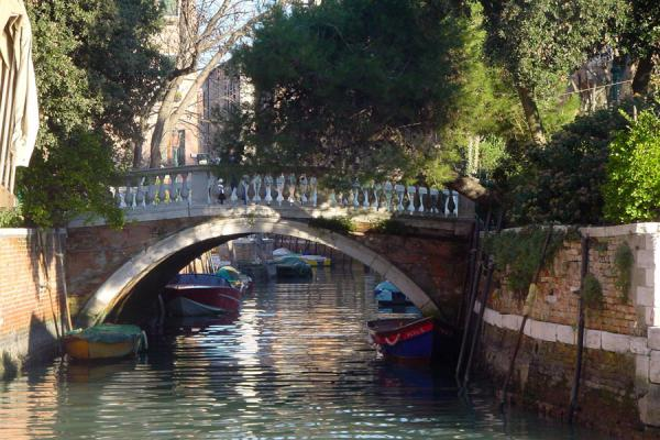 Bridge reflected in the tranquil waters of a Venetian canal | Venetian Canals | Italy