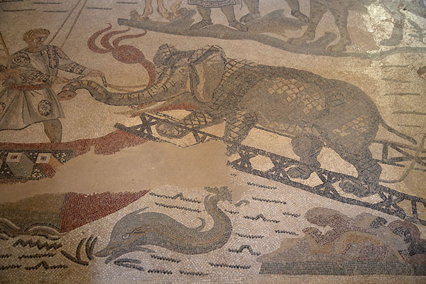 Elephant being led on a ship: detail of the great hunting scene mosaic | Villa Romana del Casale | Italy