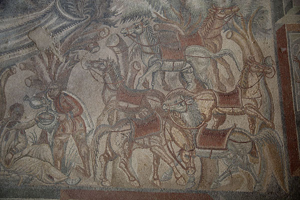Horses having a rest while a hunter received a drink from a slave | Villa Romana del Tellaro | Italy