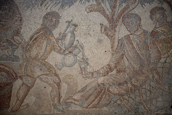 Picture of Mosaic with hunters having lunch under a tree - Italy - Europe