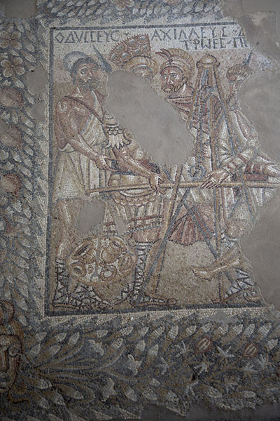 Close-up of a mosaic depicting Odysseus and Achilles in the villa | Villa Romana del Tellaro | Italy