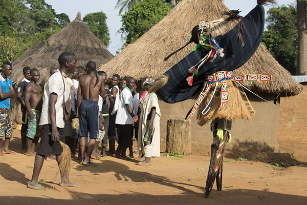 Stilt dancer towering high above the villagers | Gboni stilt dancing | Ivory Coast