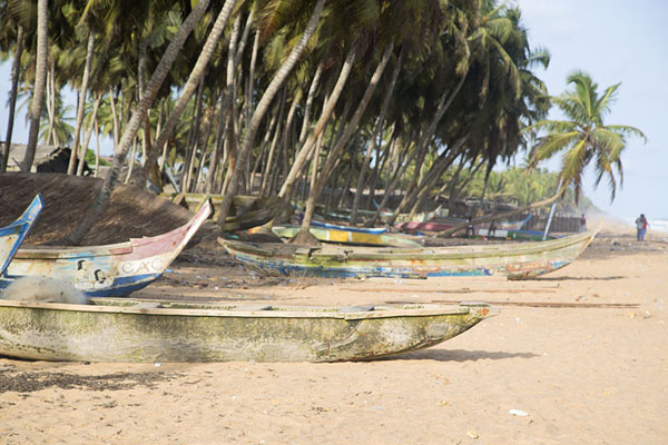 Photo de Fishing boats lying on the beach of JacquevilleJacqueville - Côte d'Ivoire