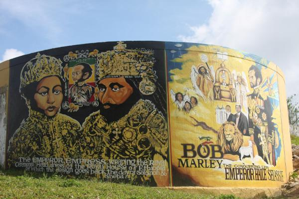 Picture of Tribute to Emperor Haile Selassie I near the mausoleum of Bob Marley - Jamaica - Americas