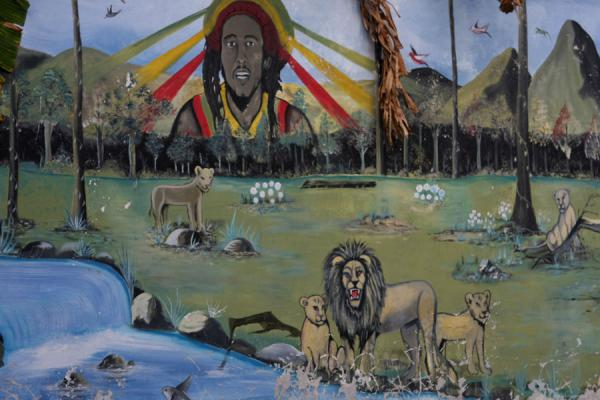 Bob Marley appearing in an African landscape on a fresco | Musée Bob Marley | Jamaique
