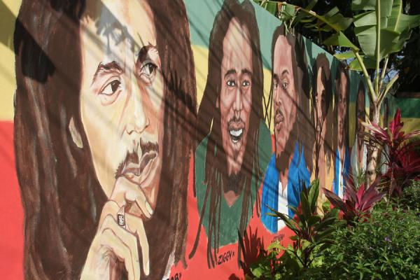 Sons of Bob Marley painted on a wall | Musée Bob Marley | Jamaique