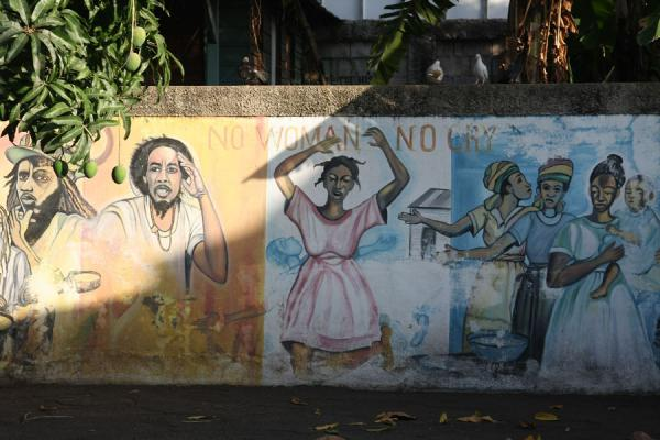 Painting on a wall referring to the famous No Woman No Cry song | Bob Marley Museum | Jamaica