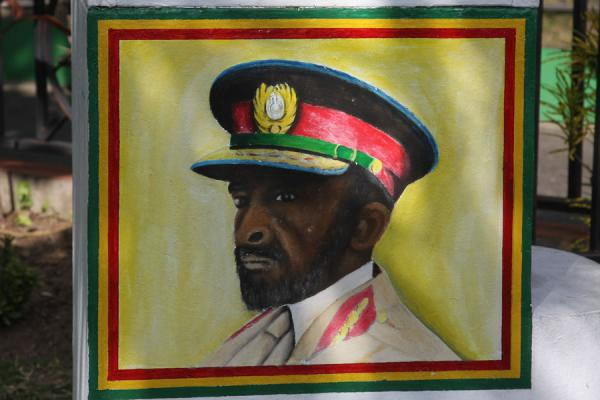 Foto di Painting of Haile Selassie, of major influence in the life of Bob Marley and many JamaicansKingston - Giamaica