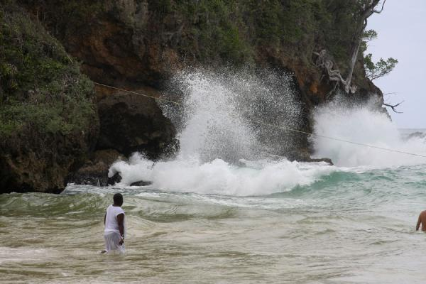 Picture of Frenchman's Cove Beach (Jamaica): Playing with the waves: Jamaican enjoying the sea at Frenchman's Cove Beach