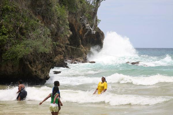 Picture of Frenchman's Cove Beach (Jamaica): Waves crushing on the rocks near Frenchman's Cove Beach