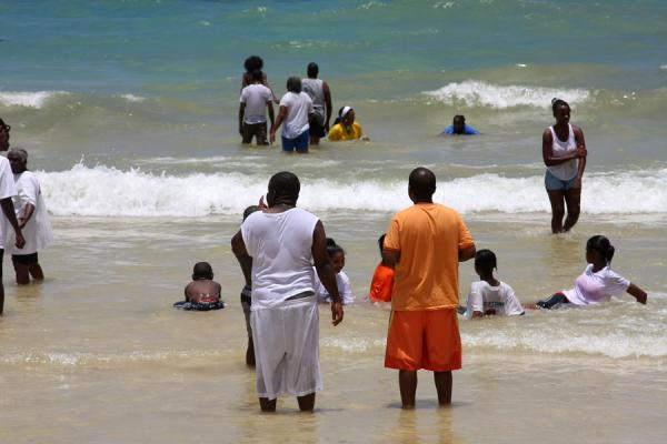 People enjoying the surf at Frenchman's Cove beach | Frenchman's Cove Beach | Jamaica