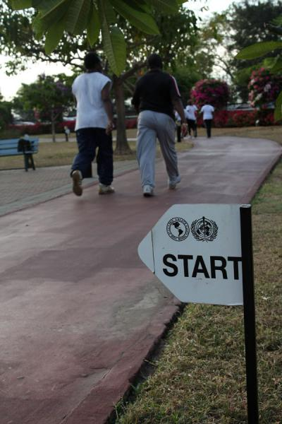 Jamaicans going for a jog in Emancipation Park | Emancipation Park | Jamaica