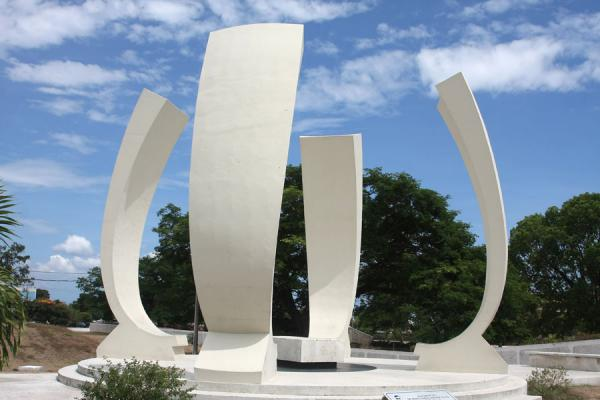 Picture of The monument to Donald Sangster is symmetrical and symbolical