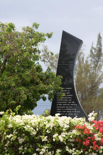 Black Jamaican marble monument for Michael Manley | National Heroes Park | Jamaica