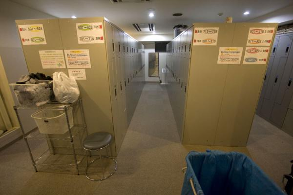 Lockers for guests of the capsule hotel | Capsule Hotel | Japan