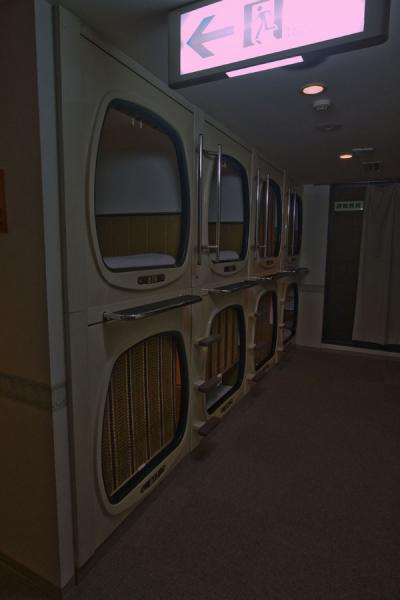 Some of the bunks on a floor in capsule hotel | Capsule Hotel | Japan