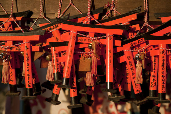 Picture of Miniature torii tied together into bundles at a shrine