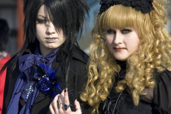 Picture of Harajuku Cosplay (Japan): Japanese goth girls parading on Jingu Bridge in Harajuku