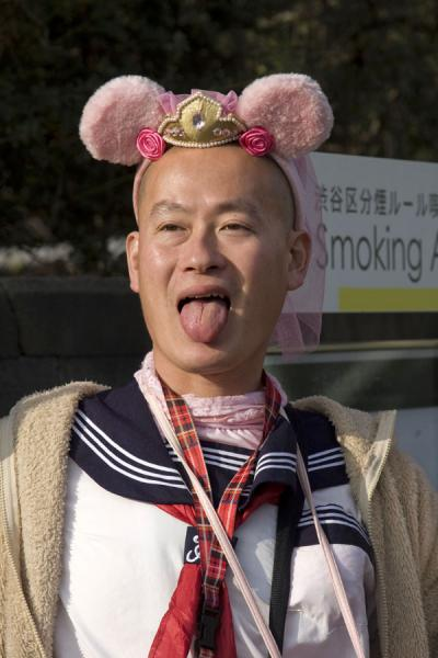 Japanese guy with pink ears on his head | Harajuku Cosplay | Japan