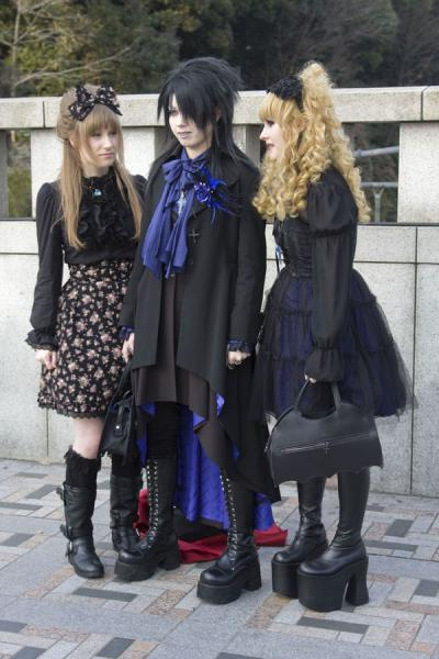 Picture of Harajuku Cosplay (Japan): Dressed in black: goth girls posing on Jingu Bridge