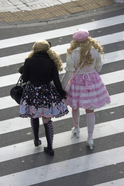 Picture of Harajuku Cosplay (Japan): Girls dressed in black and pink at a pedestrian crossing near Jingu Bridge