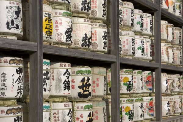 Picture of Kamakura (Japan): Barrels of sake at the Tsurugaoka Hachiman-gu shrine complex