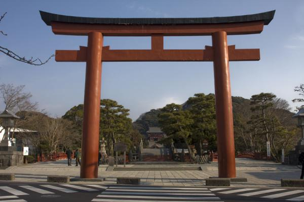 Foto di Wooden torii or gate leading to the main shrine of Kamakura, Tsurugaoka Hachiman-guKamakura - Giappone
