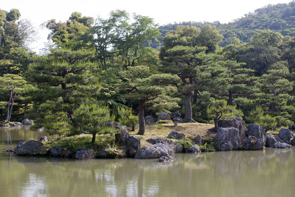 Islet in the lower pond at which the Temple of the Golden Pavilion is located | Kinkaku-ji | Japan