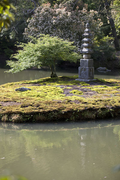 Pagoda on an islet inside a smaller pond a little uphill from Kinkaku-ji |  | 日本
