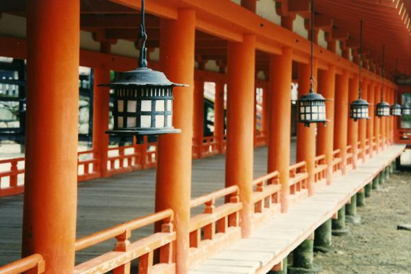 Colour play of lanterns and corridor | Miyajima | Japan