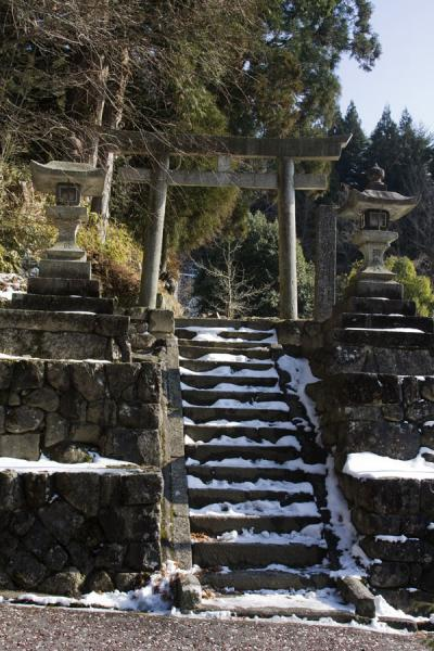 Snowy stairs next to the Nakasendo | Nakasendo | Japn
