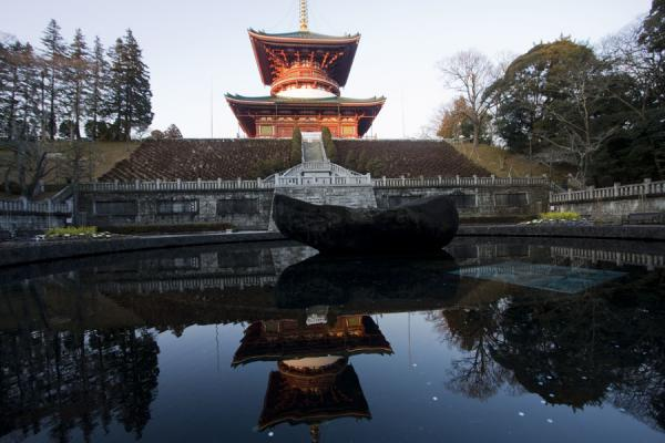 Great Pagoda of Peace reflected in small pool | Narita-san Shinsho-ji temple | Japan