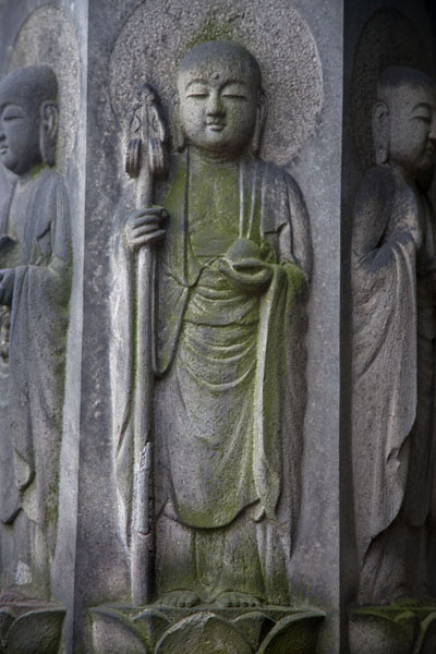 Religious Buddhist figures carved out of stone at Tenno-ji Temple | Nippori | 日本