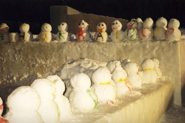 Picture of Many snowmen with letters on display in Sapporo