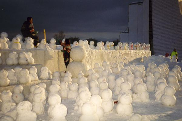 Picture of Sapporo Snowfestival (Japan): Sapporo Snow festival with many small snowmen