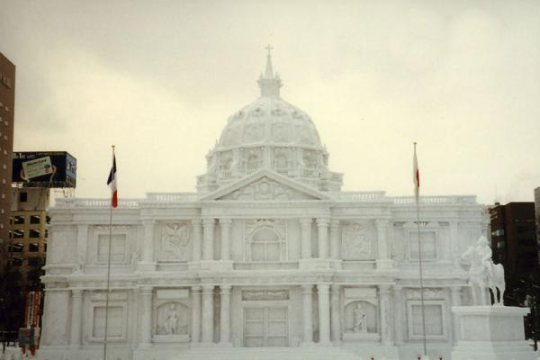 Landmark building from Paris made from snow | Sapporo Snowfestival | Japan