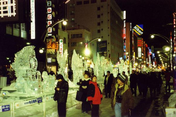 Visitors to the ice sculpture part in Sapporo city | Sapporo Snowfestival | Japan
