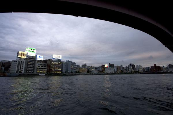 West bank of the Sumida river seen from under expressway flyover | Sumida river walk | Japan