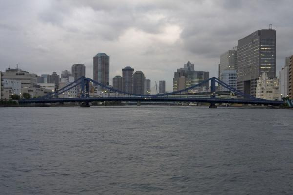 Kiyosu bridge and Tokyo skyline with Sumida river | Sumida river walk | Japan