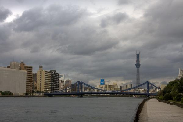 Kiyosu Bashi bridge spanning the Sumida river | Sumida river walk | Japan